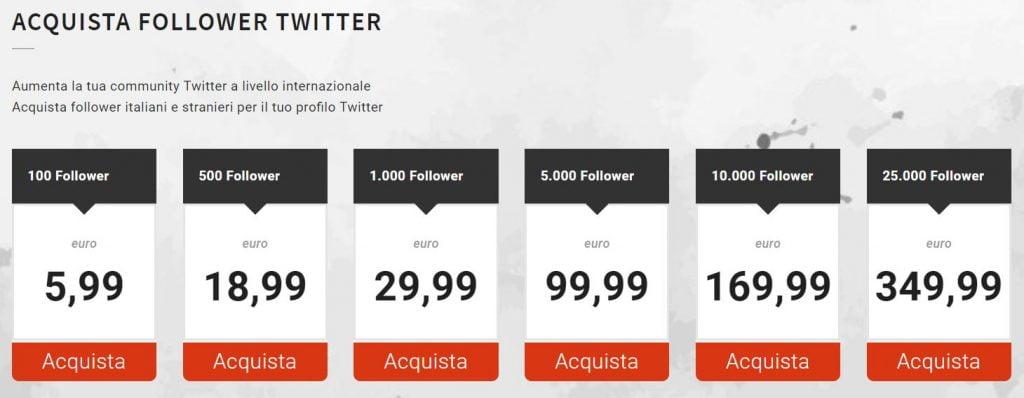dove comprare follower twitter