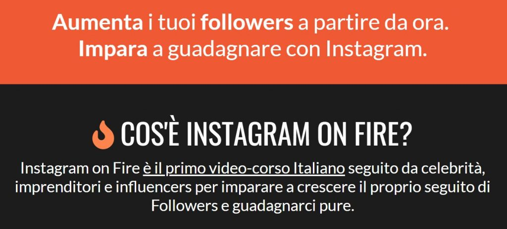 guadagnare con instagram on fire