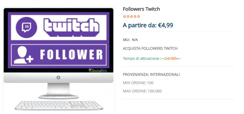 acquistare followers twitch