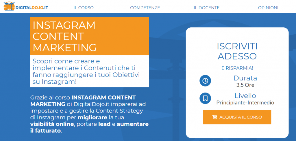 corso instagram content marketing