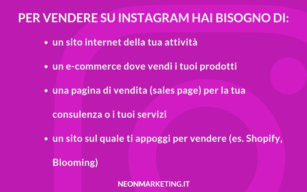 come vendere online su instagram