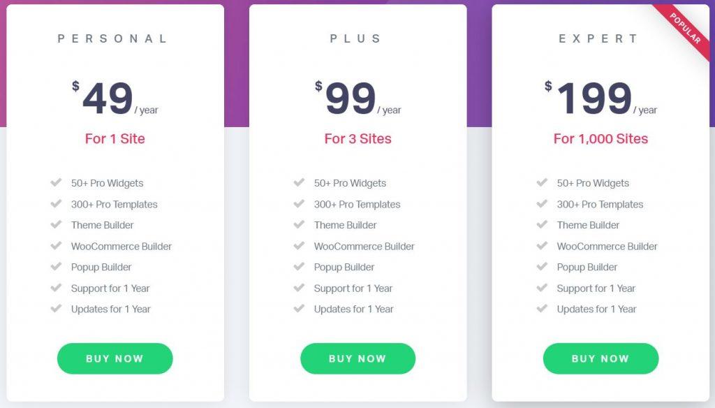 prezzi elementor pro