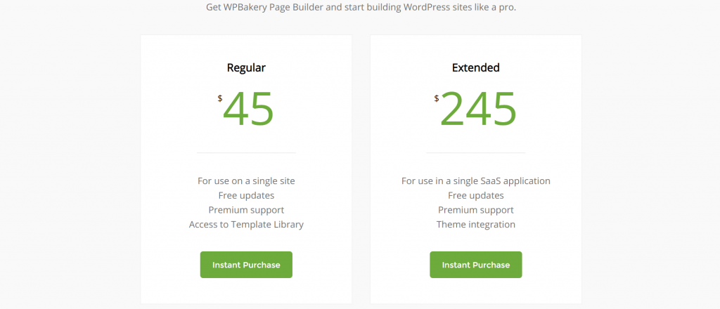 pricing page builder wp bakery