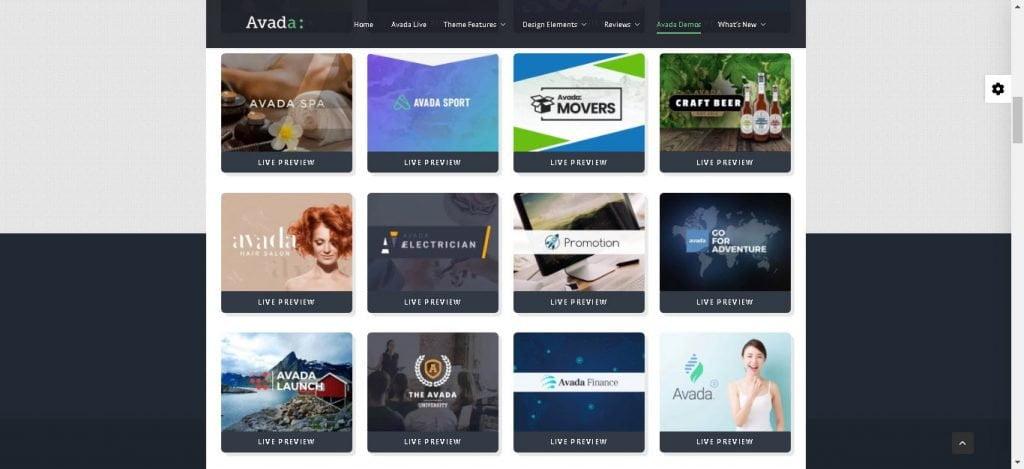 Avada theme siti demo
