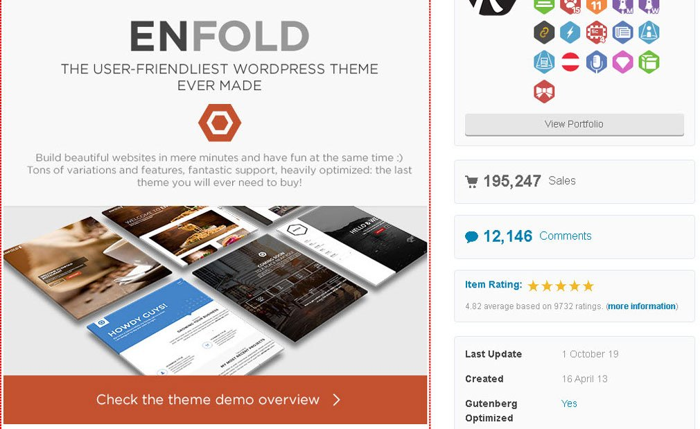 Enfold WordPress theme Vendite