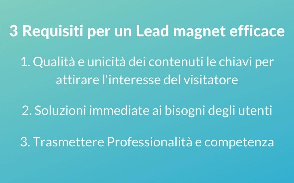 Lead magnet requisiti