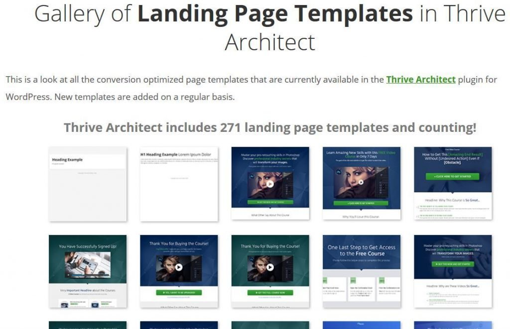thrive architect landing page