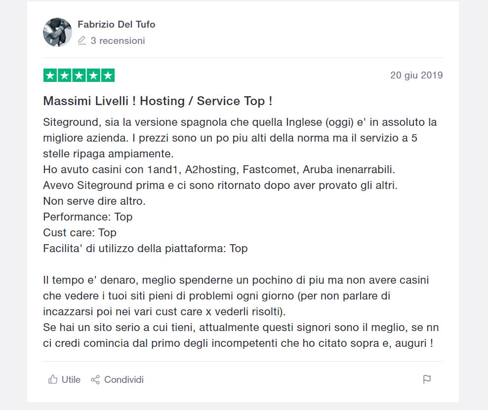 recensione utente siteground