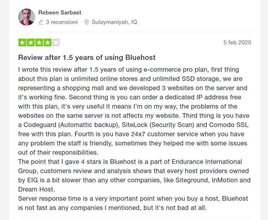 bluehost recensioni