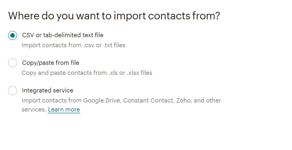 lista contatti mailchimp