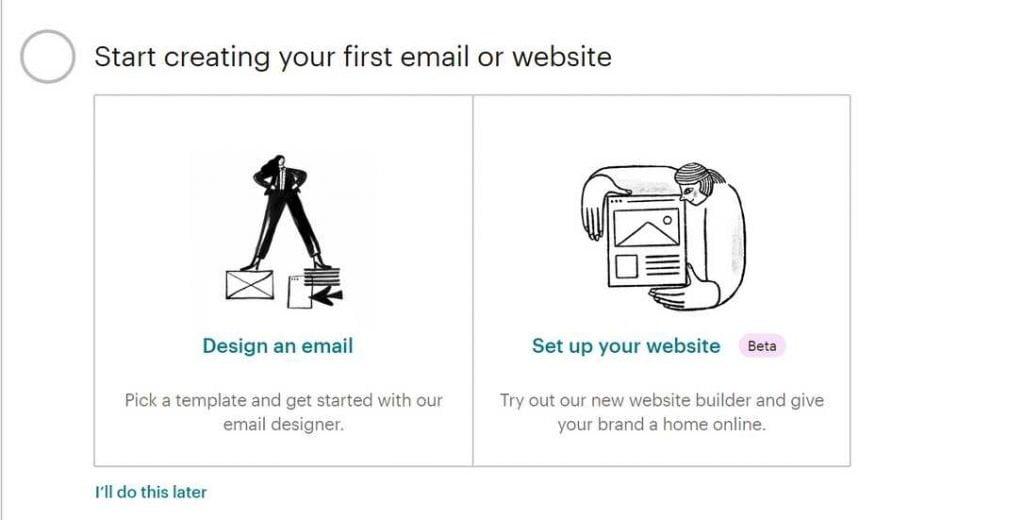 mailchimp creare email