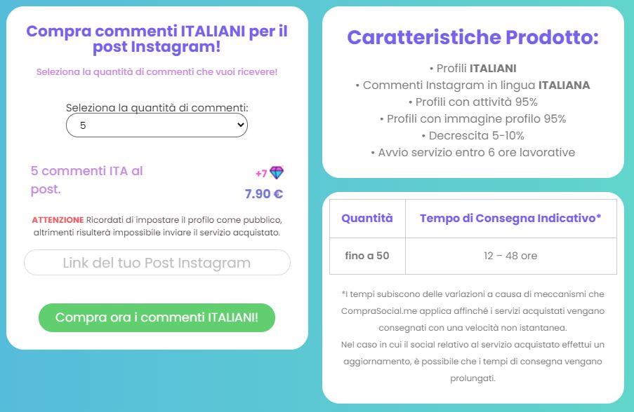 compra commenti instagram italiani