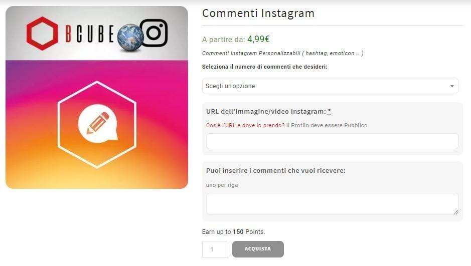 comprare commenti instagram italiani