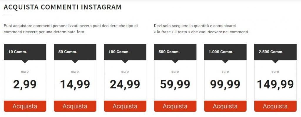 comprare commenti instagram personalizzati bcube agency