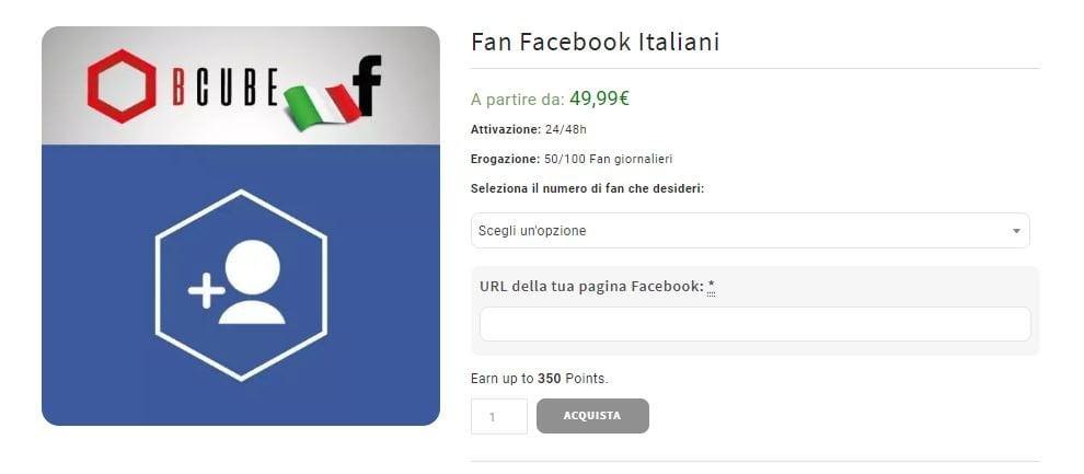 comprare fan pagina facebook reali italiani