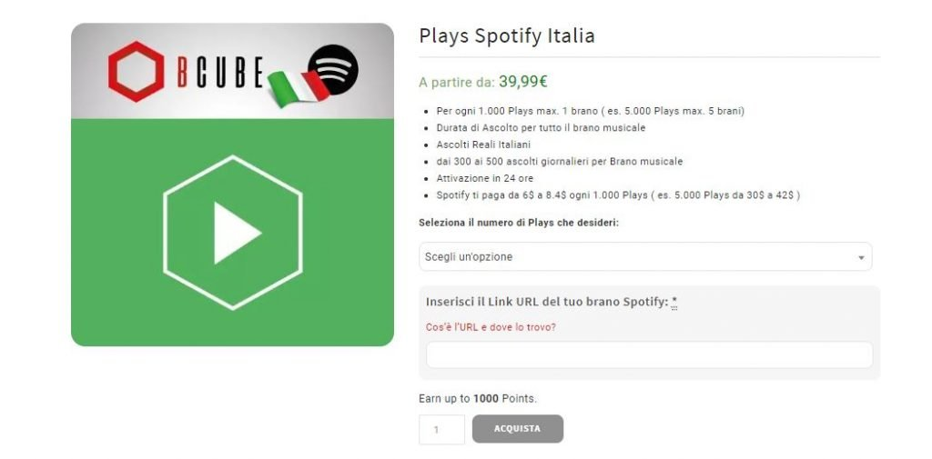 comprare plays spotify italiani