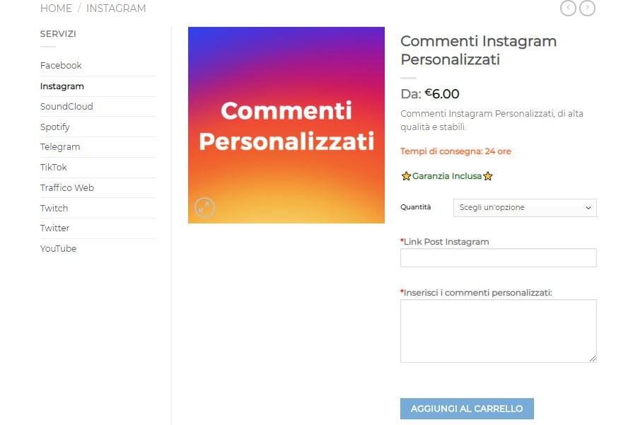 comprare commenti personalizzati per instagram