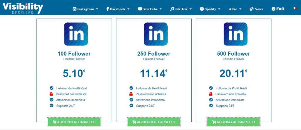 comprare follower linkedin visibility reseller