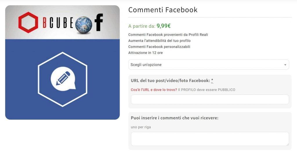 compra commenti facebook