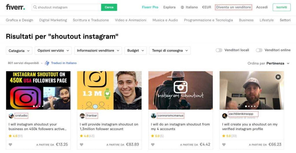 acquistare shoutout instagram