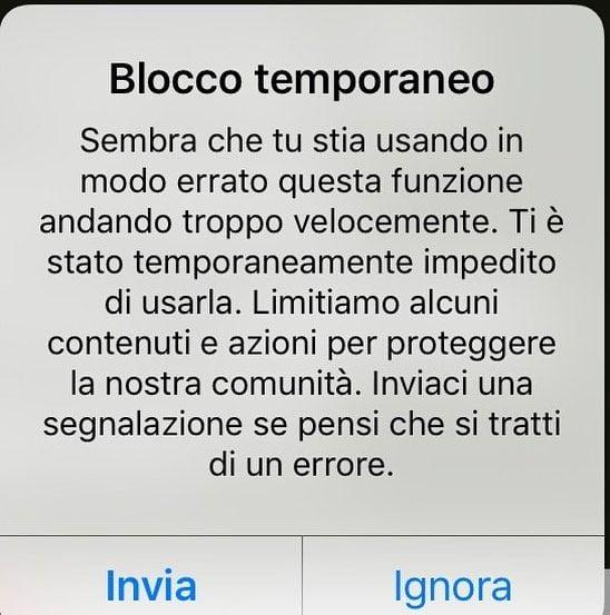 blocco temporaneo Instagram