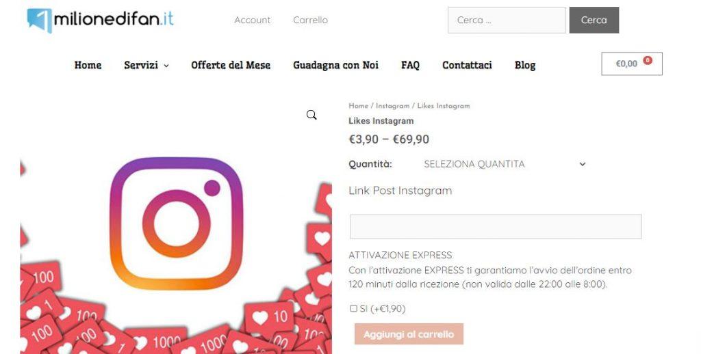 comprare like italiani instagram 1milionedifan