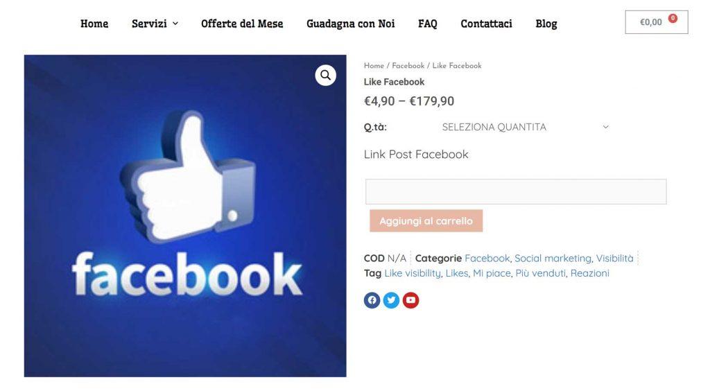 comprare like post facebook italiani