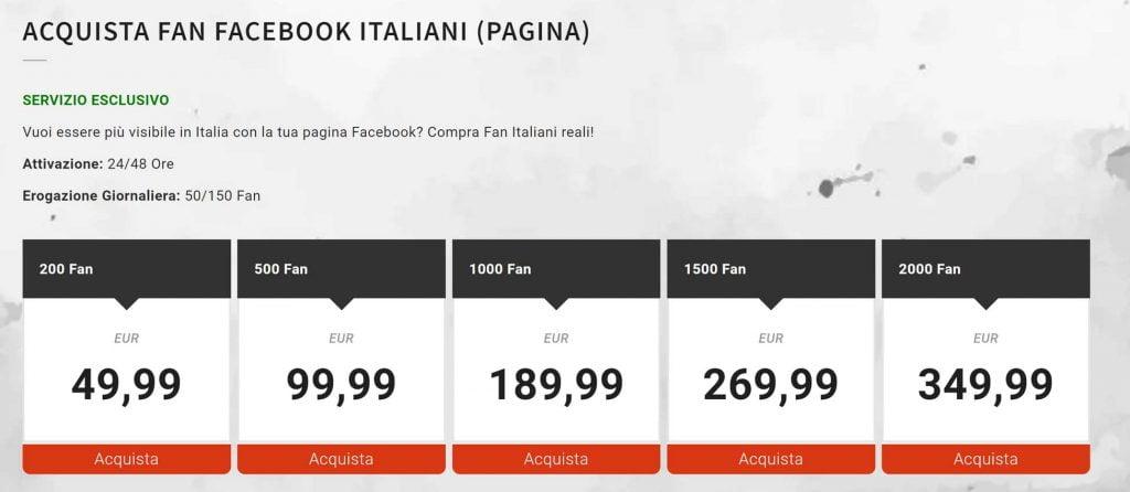 comprare mi piace pagina facebook italiani