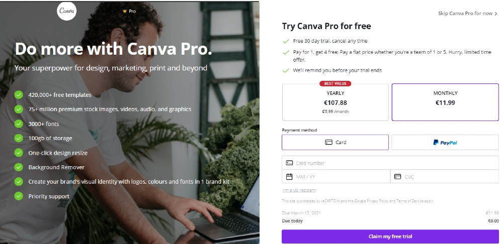 Canva pro free trial