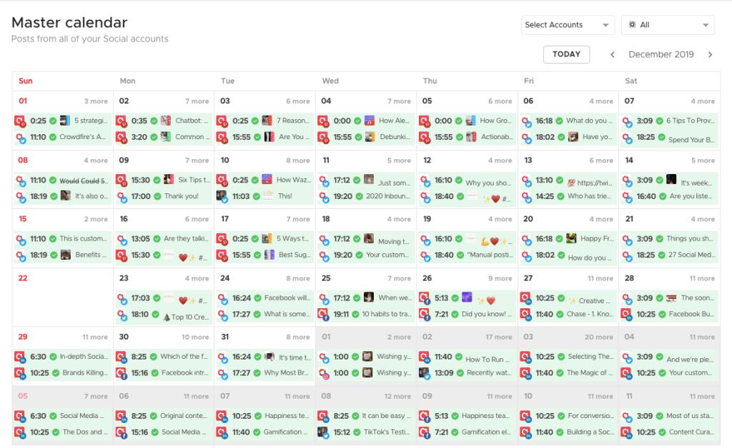 Crowdfire app Master calendar