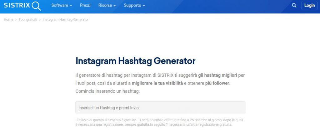 generatore hashtag instagram sistrix