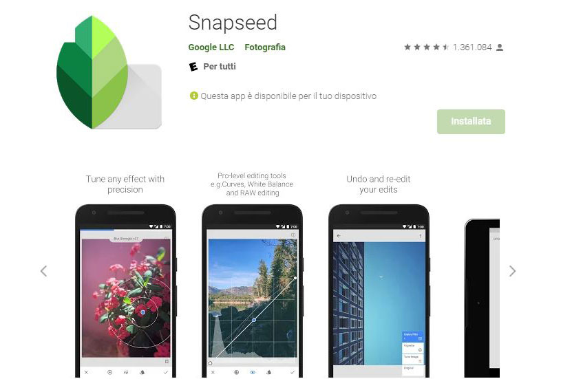app per creare post Instagram snapseed