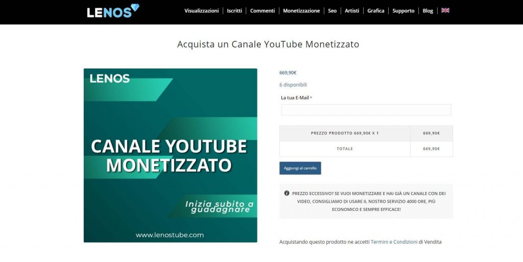 comprare canale youtube