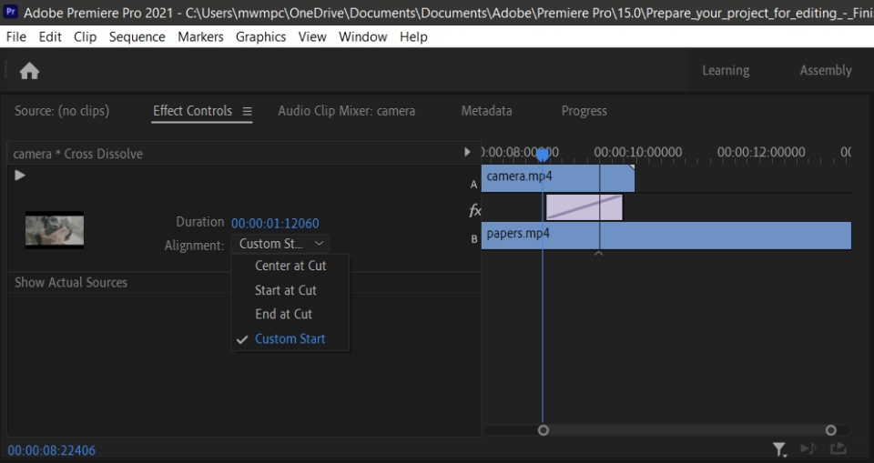 Adobe premiere transizioni