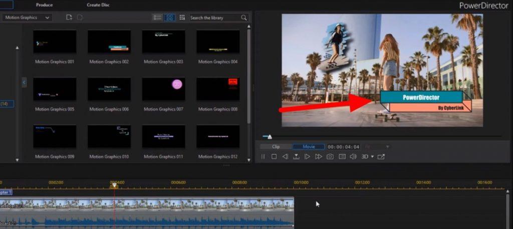 PowerDirector Motion graphics