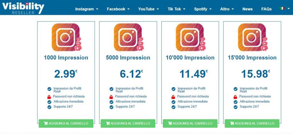 comprare impression instagram visibility reseller